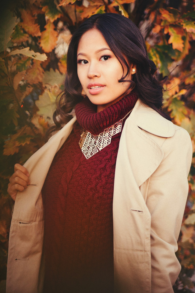 Outdoor Fall Glamour Portrait Photography