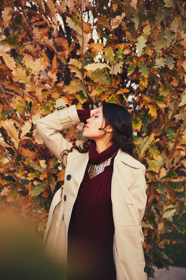 Outdoor Fall Style Glamour Portrait Photography