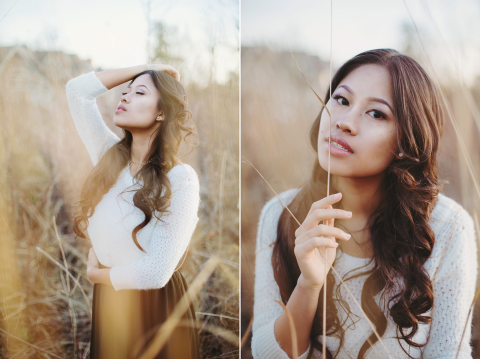Outdoor Golden Hour Winter Glamour Portrait Photography