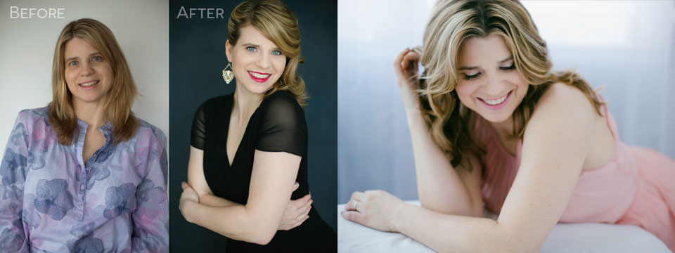 before and after confidence glamour portrait photography