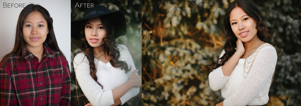 Before and After Outdoor Glamour Portrait PhotoShoot